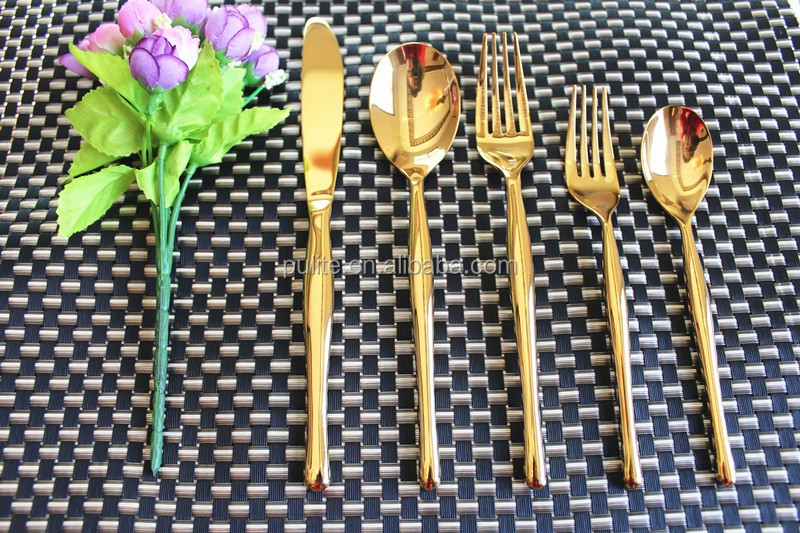 Wholesale golden set, gold flatware with cheap price and free shipping
