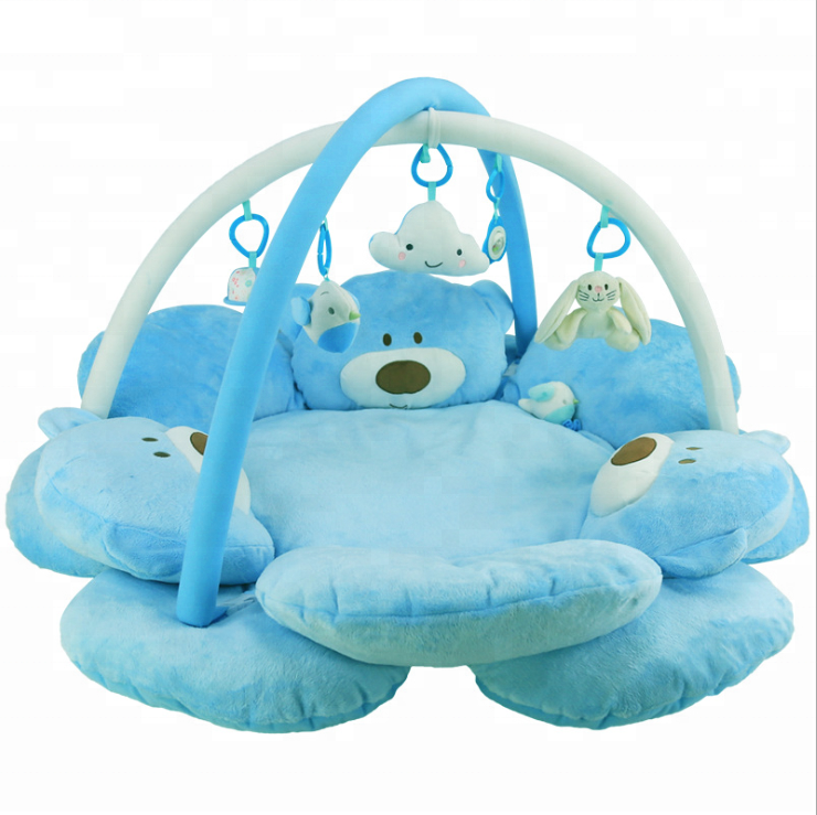 Pink and Blue Plush Bear Music Play Mats 0-1 old baby