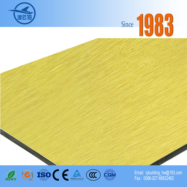 Brushed Gold Aluminum Composite Panel For Exterior Wall Decoration