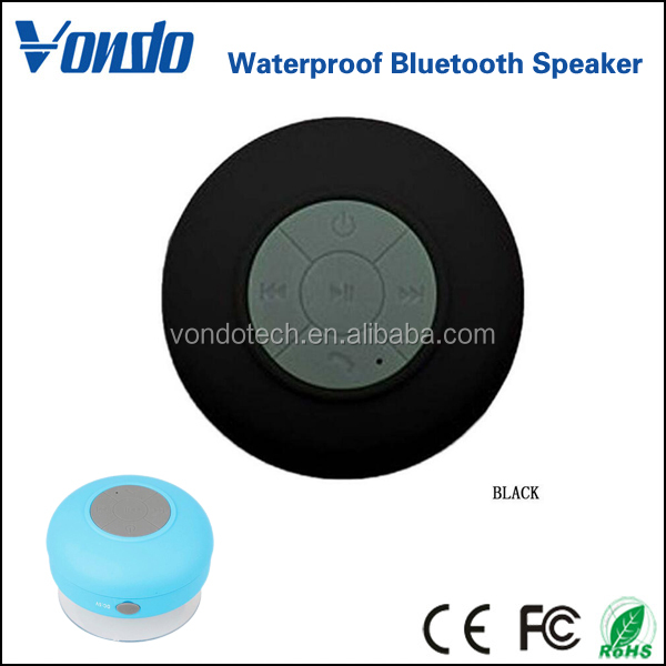 Vondo BT-06 HD Water Resistant Bluetooth 3.0 Shower Speaker, Handsfree Portable Speakerphone with Built-in Mic, 6hrs of playtime