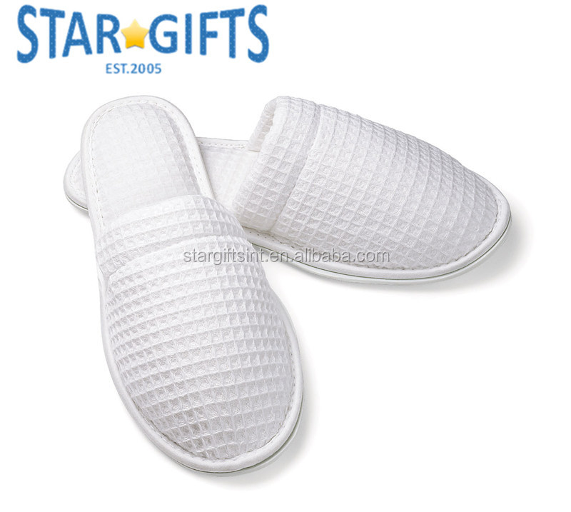 70b591d2967b White Custom Logo Spa Medical Airport Hotel Waffle Cheap Promotional  Slippers