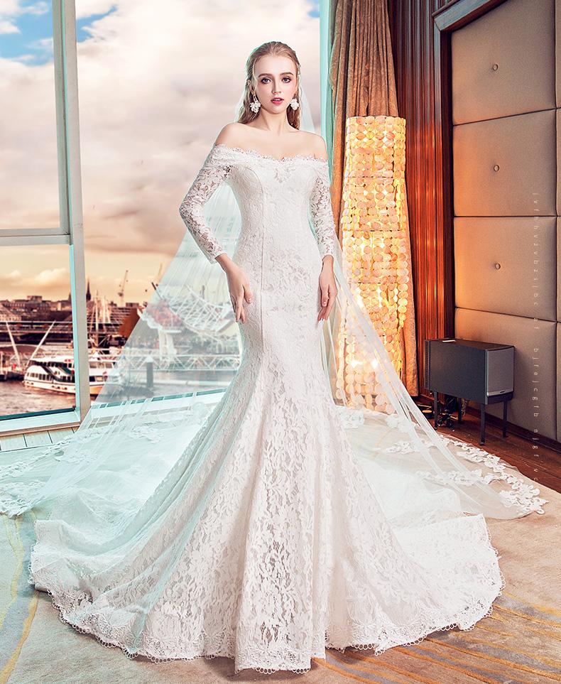 2017 Flat Shoulder Slimming Fish Tail Long Wedding Dresses