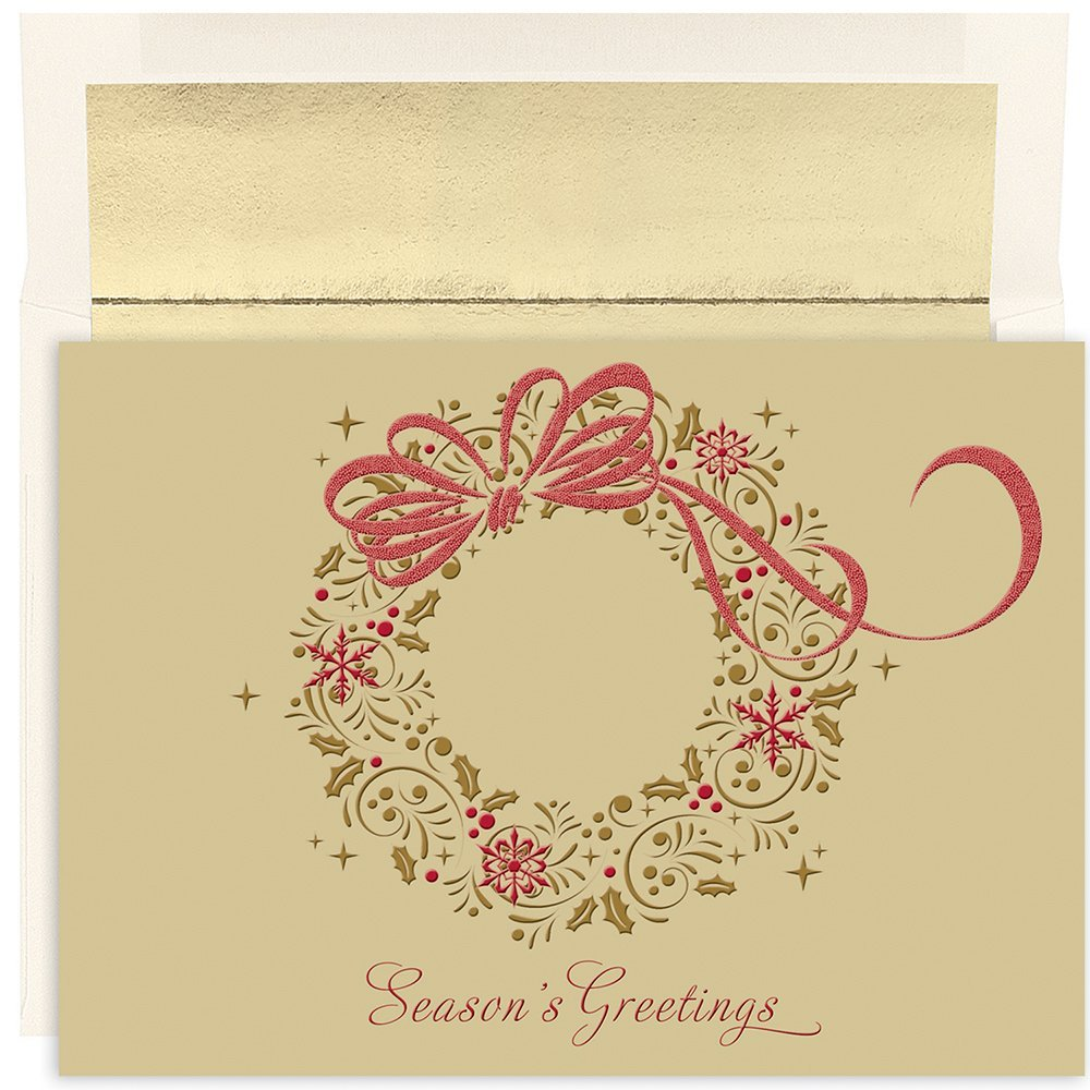 """Great Papers! Holiday Greeting Card, Gold Shimmer Wreath, 16 Cards/16 Envelopes, 7.875"""" x 5.625"""" (849000)"""