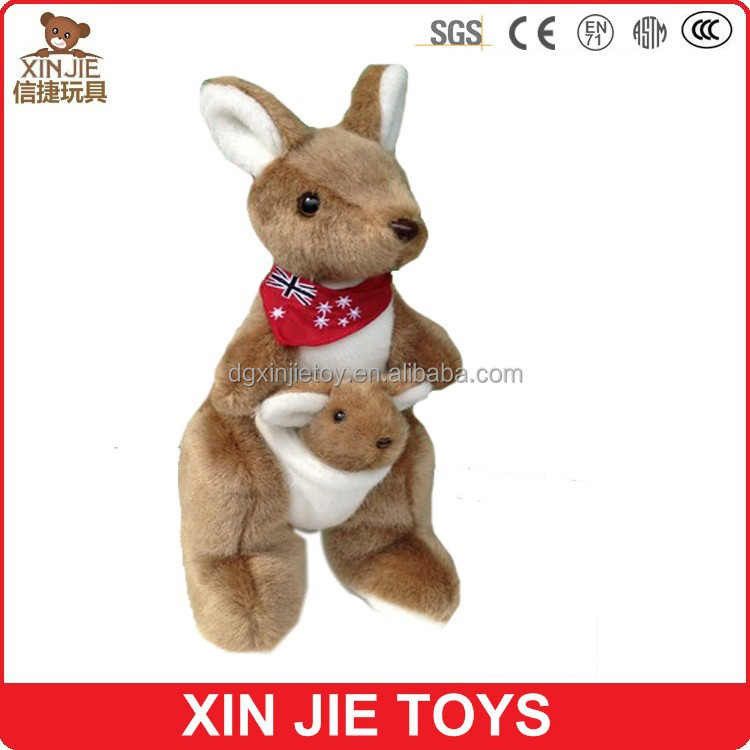 custom australia kangaroo plush toy funny plush kangaroo with flag