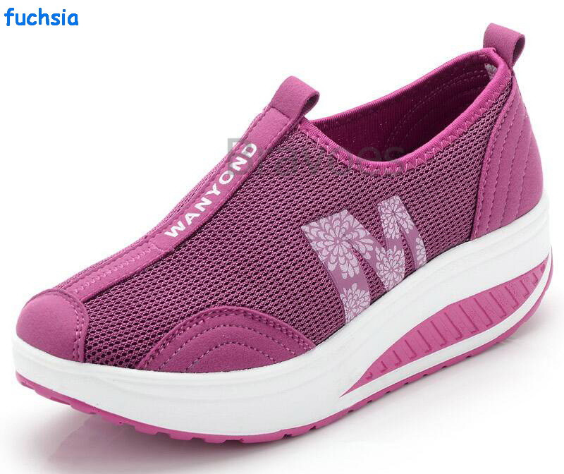 Cheap Wholesale Breathable Shoes Sport Women Wedge Casual Sneakers