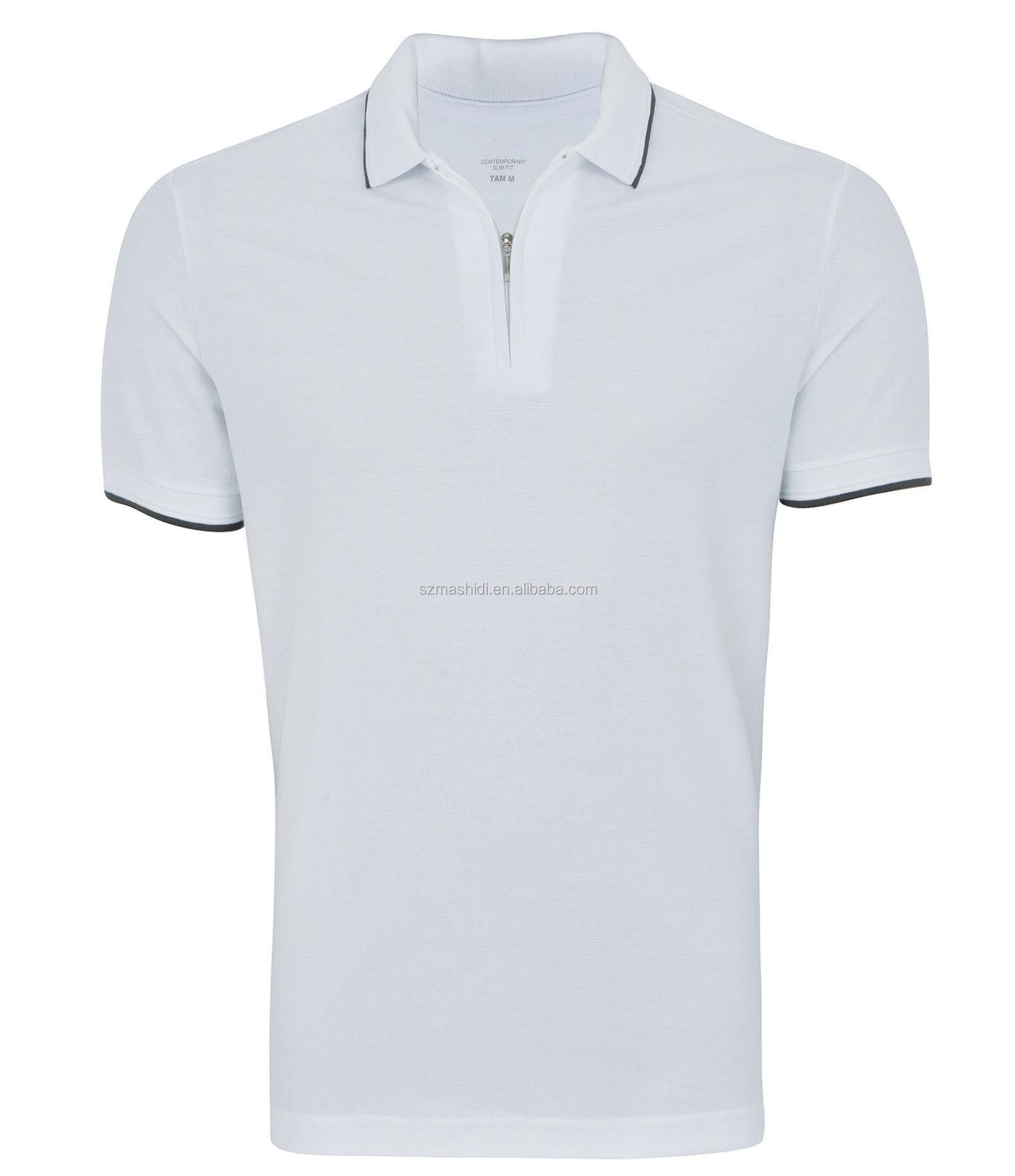 Shirt design with collar - Simple Fashion Zip Collar No Button Polo Shirt Design For 100 Cotton White Polo Shirt