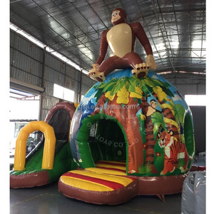 Jungle printing inflatable funhouse combo /jumbo inflatable castle slide price