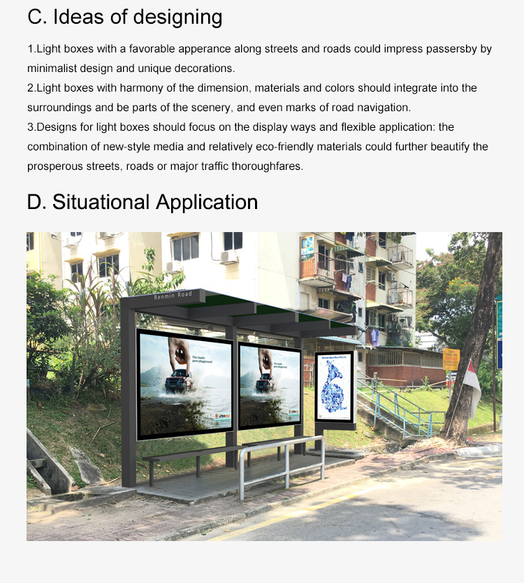 Outdoor bus shelter LED with light box