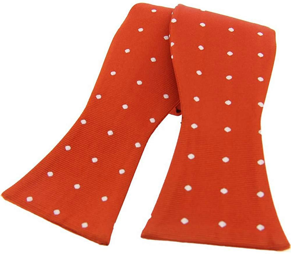 David Van Hagen Mens Polka Dot Silk Self Tie Bow Tie - Burnt Orange