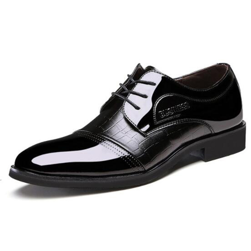 men dress shoes Pointed Toe Patent Leather Oxford Business Shoes For Men Dress Shoes