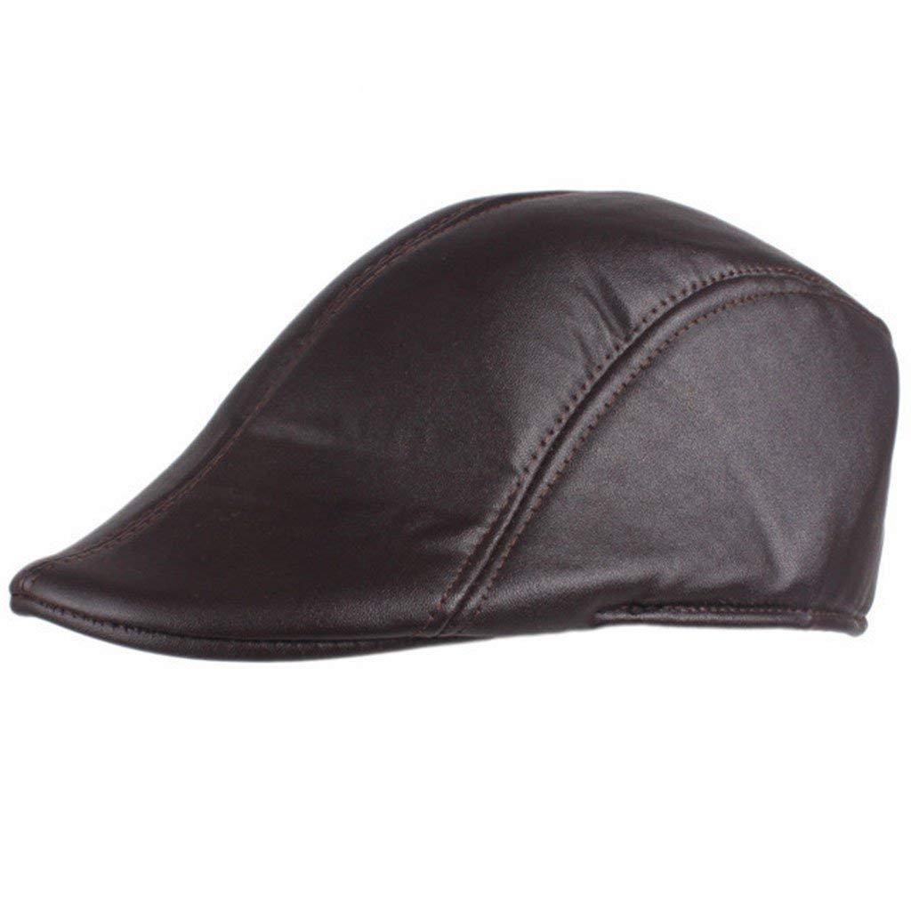 cbf121442007c Get Quotations · Lamdoo Mens Solid Faux Leather Duckbill Beret Caps Unisex  Vintage Newsboy Flat Golf Hat Coffee