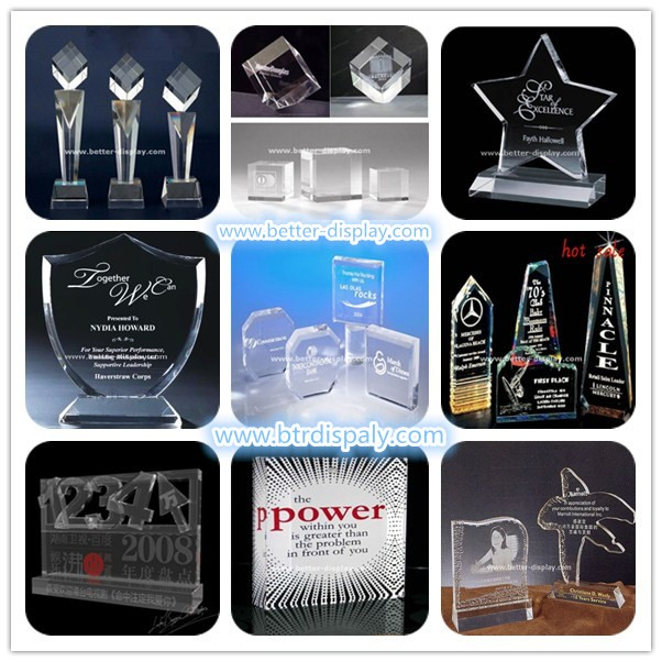 custom clear acrylic new design crystal trophy award