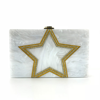 China supplier new design star pattern acrylic cluth evening bag OC3458