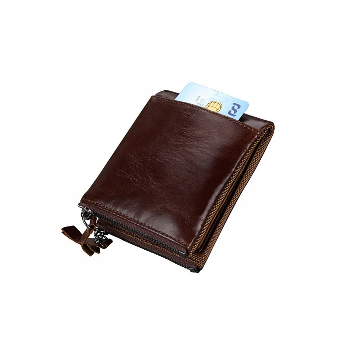 New Arrivals RFID Protection Wallet Full Grain Leather Leisure Short Zip Wallet