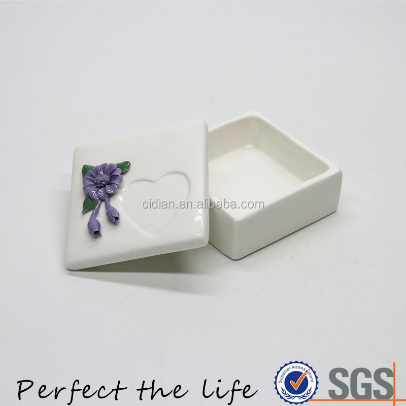 Ceramic Jewelry box with handmade ceramic flower lid