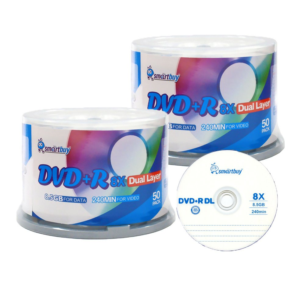 Smartbuy 8.5gb/240min 8x DVD+R DL Dual Layer Double Layer Logo Blank Media Disc Spindle (100-Disc)