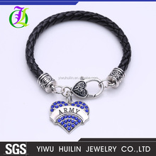 NK1204 Yiwu Huilin Jewelry wholesale unique style four color crystal ARMY heart pendant black rope leather bracelet