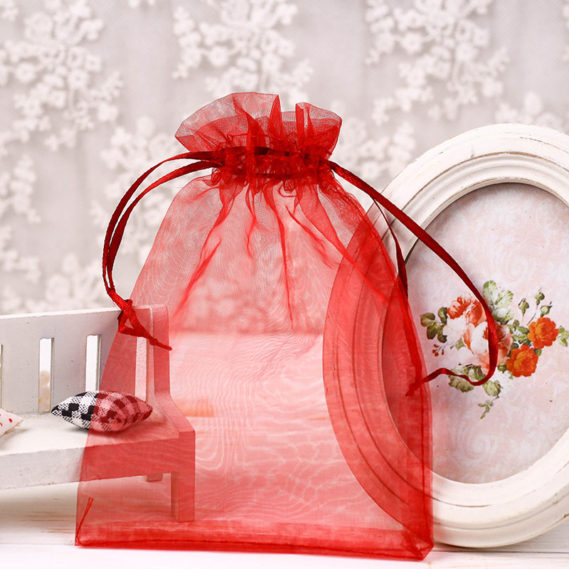 cheap sheer pink nylon organza favor bags