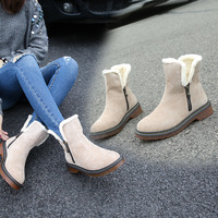 Genuine leather women winter boots snow boots women without lace boots 2017