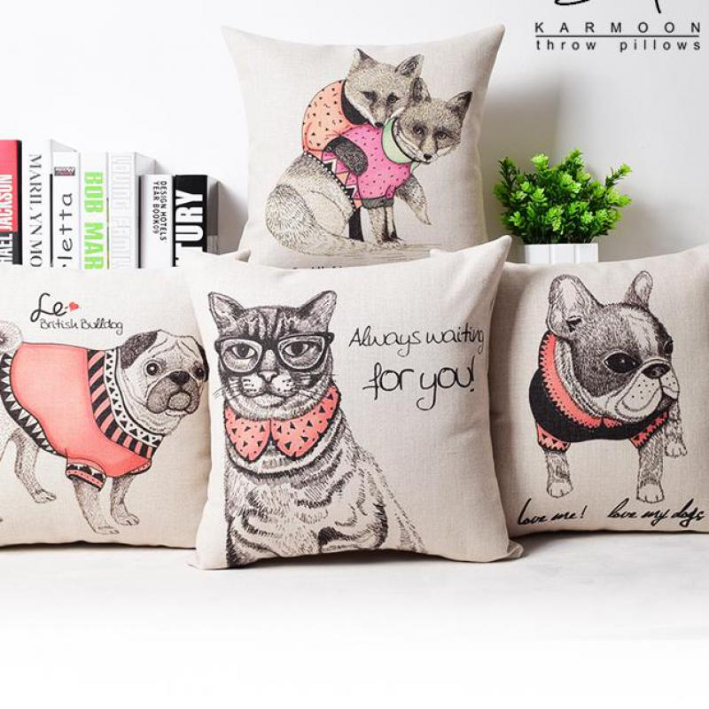 Free Shipping 100% New Home Decor OEM Customized Foreign Trade Cute Cartoon French Bulldog Mianma Cushion Cover Wholesale