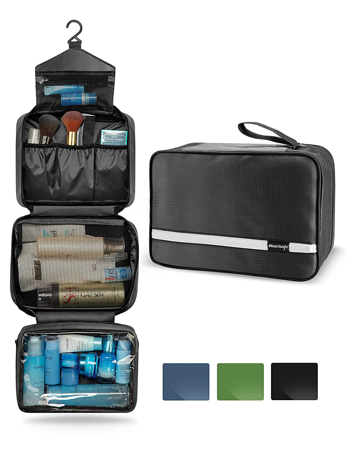 e8f95dedde8 Get Quotations · Mens Travel Toiletry Bag, Maxchange Hanging Toiletry Bag    Foldable Bathroom Kit with 6.8L