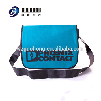 New model college student two sided pattern long strip non woven single shoulder bag with silk screen printing