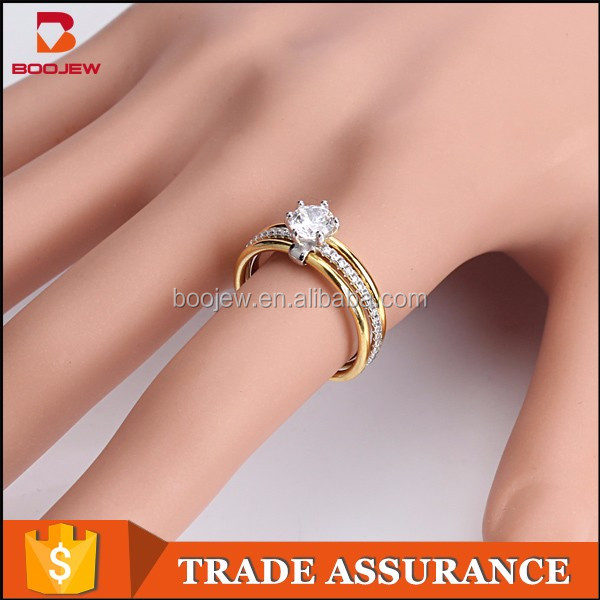 Wholesale latest 18 K gold engagement ring Christian jewelry gemstone ring Gold ring designs for girls