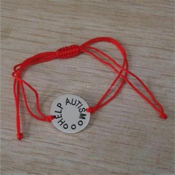 Diy Customize Help Autism Bar Bracelets Handmade Red Rope Chain Awareness