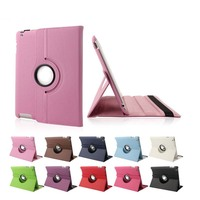 360 degree rotation PU leather case for iPad 2 3 4