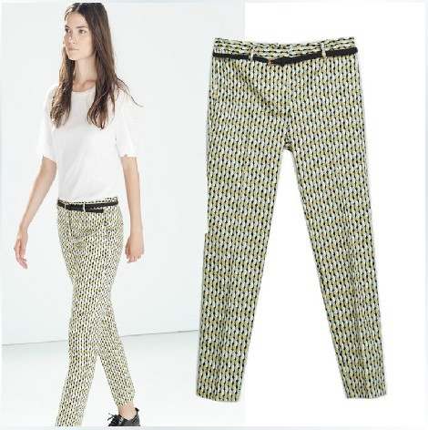 7ac5a26c4 Get Quotations · zara women 2014 autumn new Slim feet washed cotton printed  trousers waistband trousers female 7599/