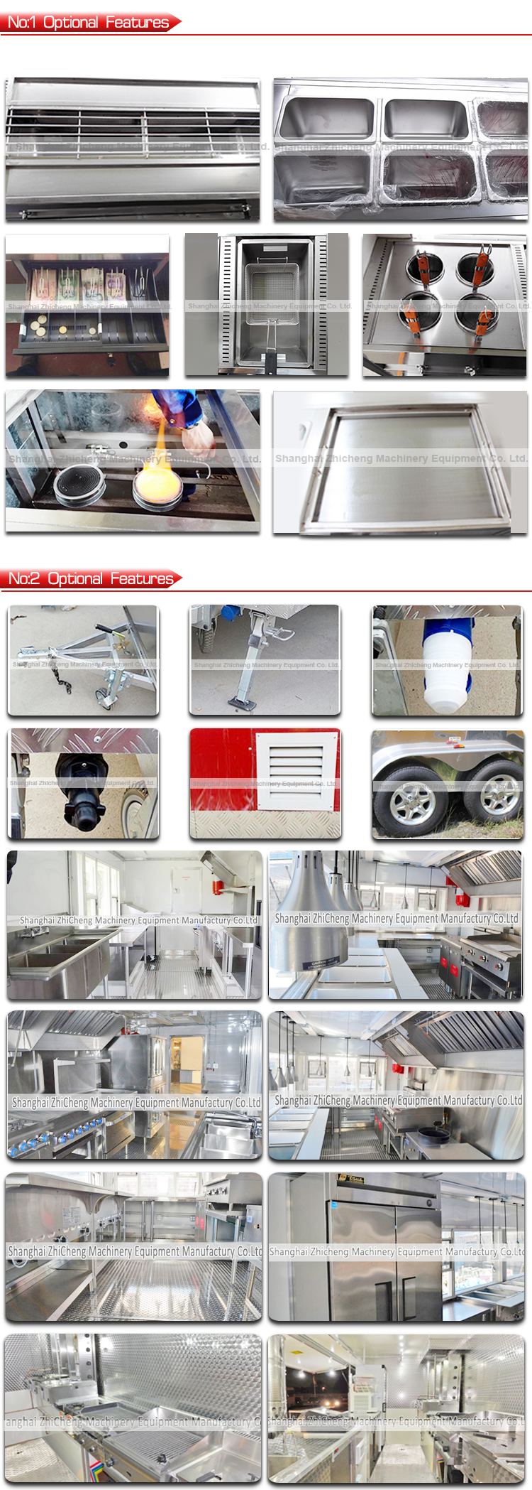 stainles steel mobile food trailer /customized food cart for making and selling food all over the world