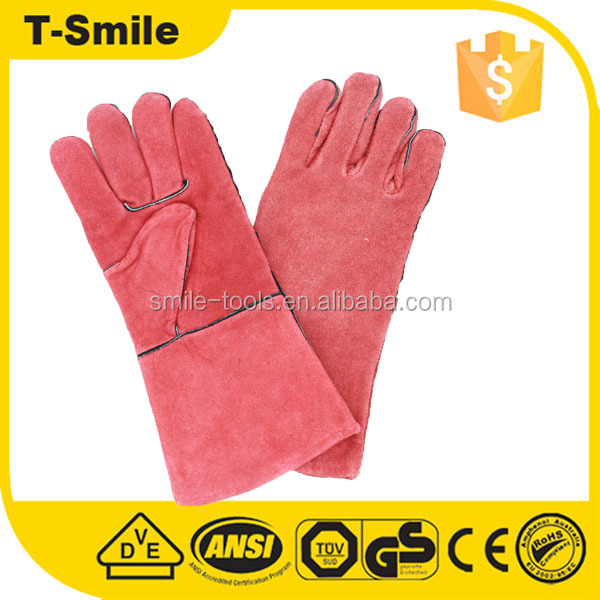 Mens long warm red superior glove for iron and steel