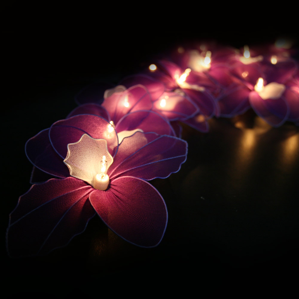 Purple orchid string lights fairy lamp brown