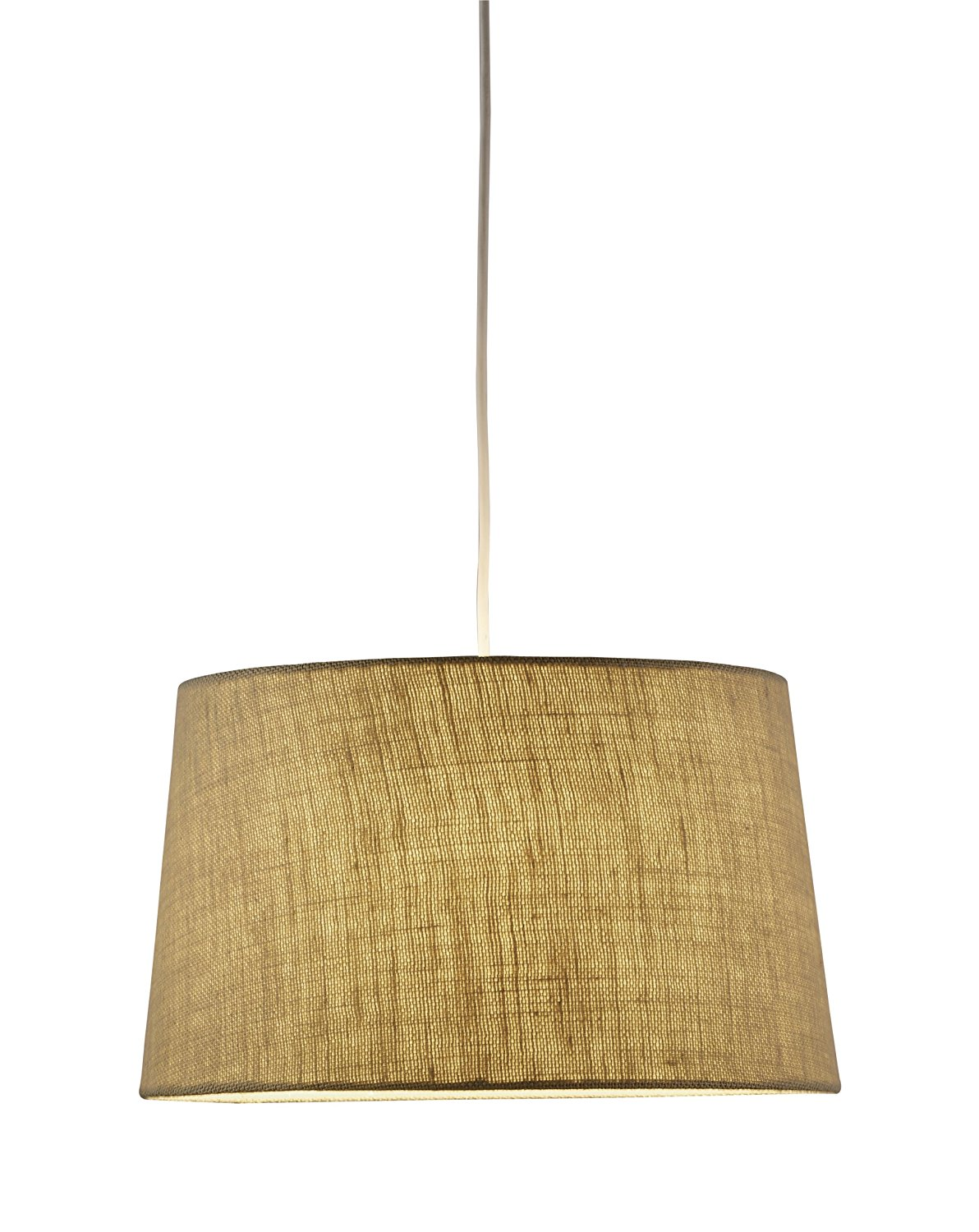 Adesso 4002-18 Harvest Tapered Drum Pendant, Wheat Colored Burlap Fabric