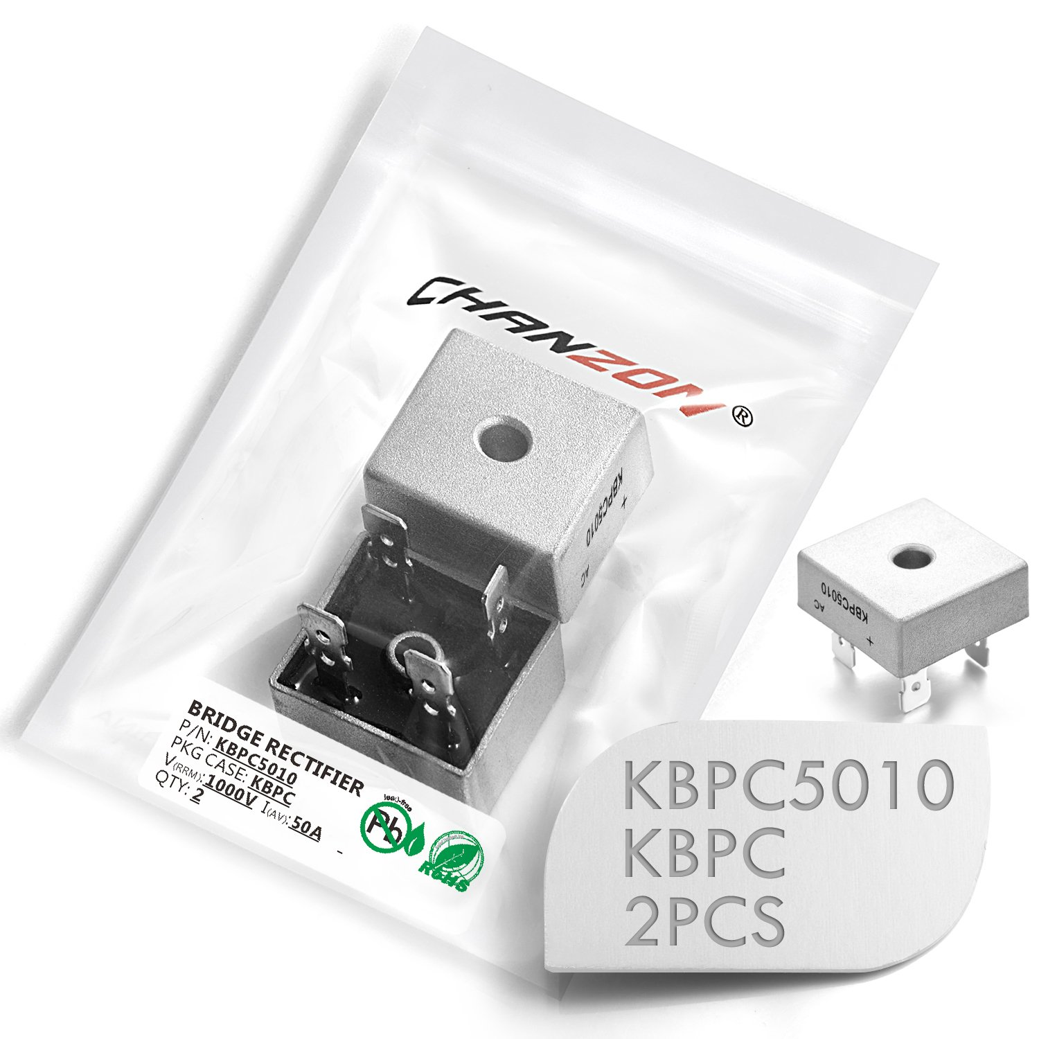 (Pack of 2 Pieces) Chanzon KBPC5010 Bridge Rectifier Diode 50A 1000V KBPC Single Phase, Full Wave 50 Amp 1000 Volt Electronic Silicon Diodes