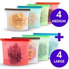Reusable Eco Silicone Food Storage Bulk Bags Size Ziplock Plastic Containers Cooking Bag 8Sets for Liquid Snack Lunch Freezer