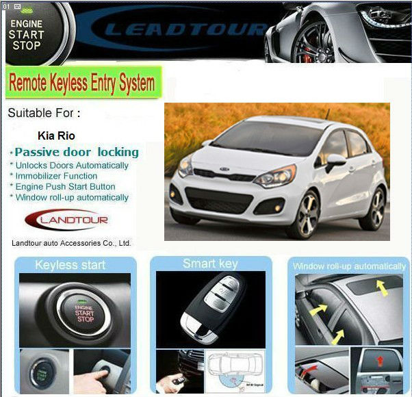 Kia Rio Accessories Car Alarm Security System Keyless Entry System