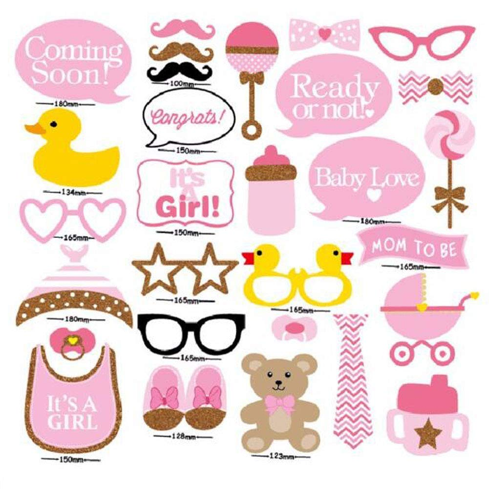 Photo Booth Props Baby Shower Photo Props Photo Booth Stick Props 29pcs Baby Shower Photo Props, Baby Bottle Masks Pink Photobooth Props Newborn Girl Gift Party Decorations
