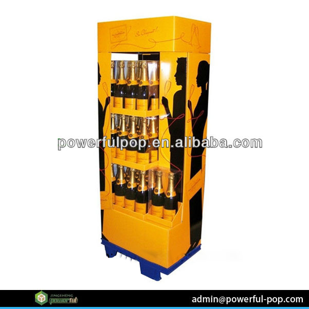 store pop-up flooring cardboard liquor bottle display shelf