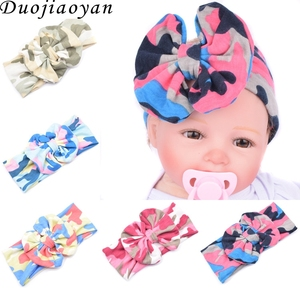 custom baby headband Fashion wild camouflage bow knot with kids sports yoga wide hair band