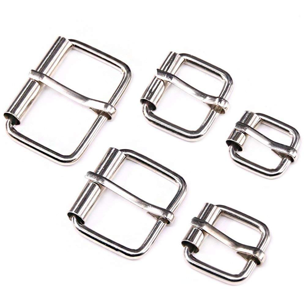 910ae5a3ab115 Get Quotations · Swpeet 50 Pcs Assorted Multi-purpose Sliver Metal Roller Buckle  Ring for Hardware Belt Bags