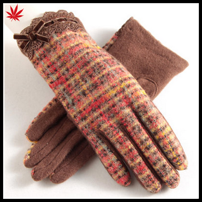 2016 best sales ladies back fabric and palm woolen match gloves