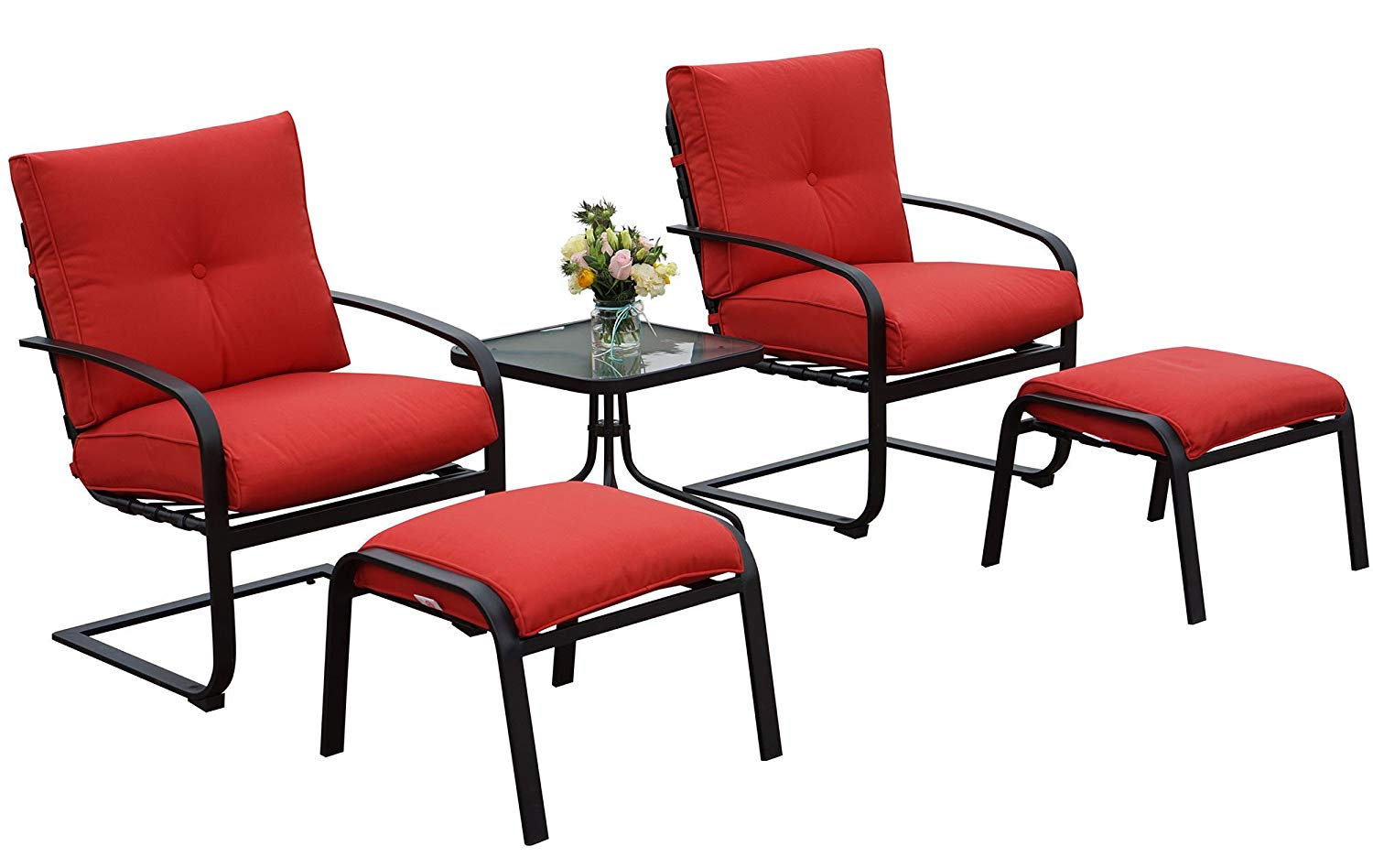Kozyard Habana Patio 5PCS Spring Conversation Sets with Red Cushion and Ottoman Side Table Great for Patio, Deck, Porch, Poolside Conversation or Drinks