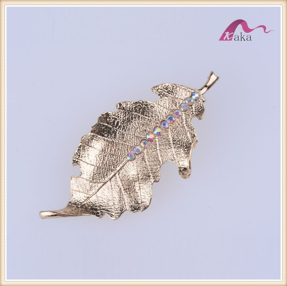New fashion wholesaler metal elegant light gold leaves hair clips for women
