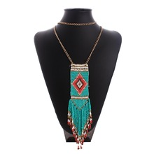 ZH1469A Clothing decoration bead tassels statement necklace
