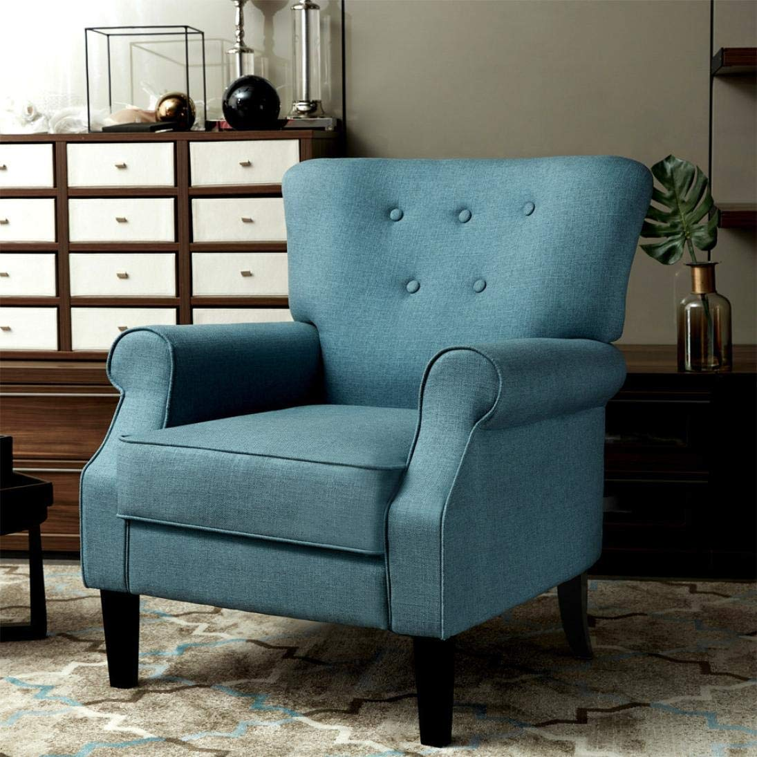 Simple Solid Color Modern Sofa Chair,Basde and Soft Modern Sofa Chair Perfect for Living Room,31.927.221.3inch (Bule)