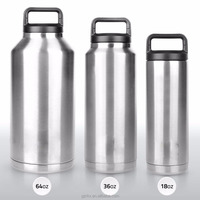 Stainless Steel Cooler Bottle with handle lid 18 Ounces,18/8 Stainless Steel Double Walled Vacuum Insulated thermos Flask 64oz