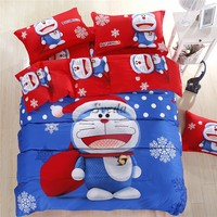 2016 Latest Doraemon bedding set 100% cotton cartoon bedding set Sheet + Quilt + Pillowcase for Children