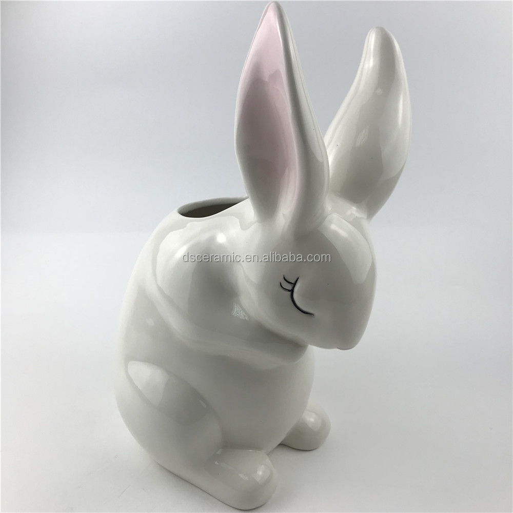 easter white animal rabbit shaped ceramic flower vase
