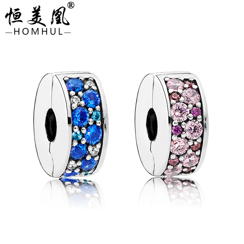 Hot sale plated silver gunmetal pink green bule micro diamond pave spacer stopper beads